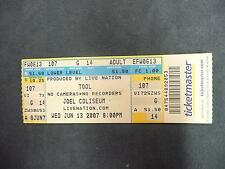 Concert ticket stub from June 13, 2007 from seeing the band TOOL live music