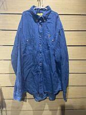 Vintage Duck Head Denim Dress Shirt Mens L Button Down Blue Long sleeve Usa 90s