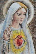 Virgin Mary Sacred Heart Marble Mosaic Mosaic Religious Mosaic Tile
