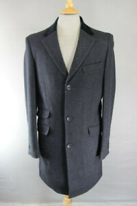 STVDIO BY JEFF BANKS WOOL BLEND 3POCKET VELVET COLLARED CHARCOAL OVERCOAT 38-44""