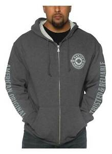 Harley-Davidson Men's Good Faith Zip-Up Poly-Blend Hoodie - Charcoal Heather