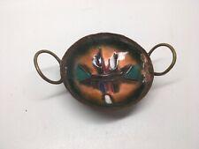 Vtg Handmade Enameled Copper Handled Footed Trinket Dish