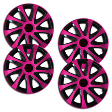 "Hubcaps Adventure Universal For 14"" Inch Black Pink 4 Piece"