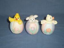 3pc Lot Porcelain Easter Egg Figurine Baby Chick Lamp Sheep Floral Tulip Rose