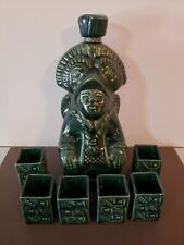 Vintage Mid Century Tiki Aztek Native Liquor Bottle With Shot Glasses Set Of 7