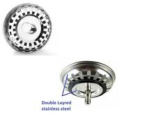Double-Layer Stainless Steel Kitchen Sink Strainer Waste Plug 79.3 mm