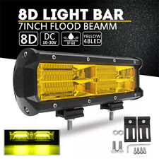 Car 12V-24V 6000K Yellow LED Double Row Work Spot Light Bar Lamps Accessories