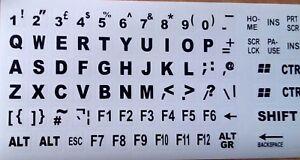 English UK Large BLACK Letter on Non-Transparent WHITE Keyboard Stickers