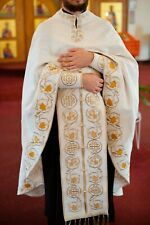 Orthodox priest vestments set. Embroidered. White-gold