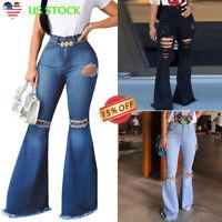 Women's Ripped Bell Bottoms Jeans Flare Denim Pants High Waist Wide Leg Trousers