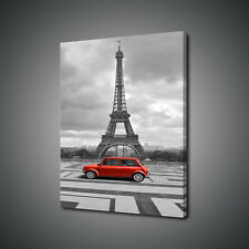 RETRO VINTAGE RED CAR EIFFEL TOWER PARIS CANVAS PRINT WALL ART PICTURE PHOTO