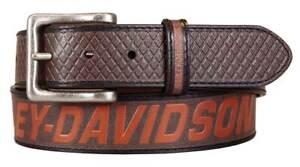 Harley-Davidson Men's Free Rein American Flag Brown Leather Belt- Antique Nickel