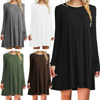 Womens Casual Long Sleeve Mini Dress Ladies Summer Holiday Beach Sundress