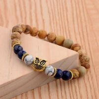 DouVei Fashion Natural Stone Gold Colour Owl 8MM Beaded Bracelets Men Women Gift