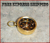 Brass Directional Pocket Compass Hiking/Camping/Survival Gear Keychain Key Ring