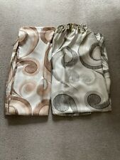 2 x Curtains Silvery/White & Brown & Silvery/White & Grey/Olive.