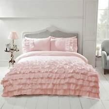 Modern Ruffle Frilly Duvet Cover & Pillowcase Bedding Set Flamenco Grey White
