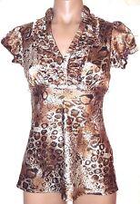 HeartSoul XS Short sleeve satiny tunic top shirt blouse metallic animal print