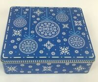 Oreo Cookie Christmas Tin 2019 Holiday Snowflake Blue Square Collectible EMPTY