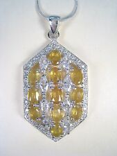 10.96 CTW YELLOW & WHITE SAPPHIRE NECKLACE - WHITE GOLD over 925 STERLING SILVER