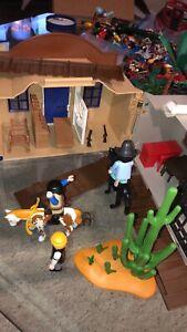 Playmobil Western Town Take Along Set Bank Jail Sheriffs Office Horses People