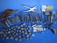 HUGE LOT CRAFTOOL & OSBORNE LEATHER WORKING TOOLS ~STAMPS~PUNCHES~LETTERS~KNIVES