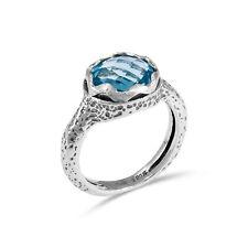 Shablool Ring Sterling Silver 925 Light Blue Blue Topaz Zircon Gift Handmade New