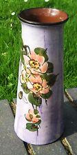 Torquay Devon Longpark Vase 10 inch . Wild rose decor Pinky mauve background .Go