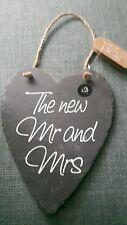 "BNWT Pretty heart shaped slate wedding plaque ""The new Mr & Mrs"", Hessian Handle"
