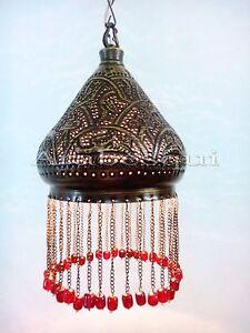 BR338 Elegant Pierced Brass Pendant Lampshade RED BEADS