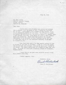 1945 Detroit Tigers Frank Shellenback signed letter White Sox Black Sox Scandal