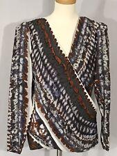 3add55c0991fa3 Chelsea Flower Sz M Silk Blouse V Neck Wrap Front Long Sleeve Top Black  Brown