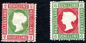 HELIGOLAND 1867 QV 2SH SC#A3/3 RSE&PALE GRN; 6SH SC#A3/4 GRY GRN & RSE MINT HNG
