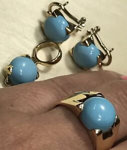 14k Real Solid gold Y Turquoise 4 pc Set Earring Pendant ring 8 5 6 7 9 10 Italy