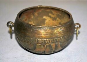 Antique Old Brass Hand Carved Rice Bowl Beautiful Serving Bowl Rare