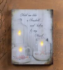 Lighted Beach Picture Jars w Candles Starfish Seashells 39600 Radiance NEW