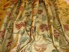 EMBROIDERED SILK TAFFETA, FLORAL, PALE GOLD, DUSKY ROSE, BY THE YARD