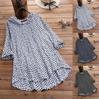 ZANZEA 10-24 Women Polka Dot Long Sleeve Blouse Shirt Tee Loose Hooded Tunic Top