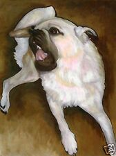 Itchy Fawn Pug Puppy Dog Art Print of Painting by Vern