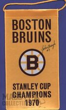 Johnny Bucyk Boston Bruins Autographed 1970 Stanley Cup Champions mini banner