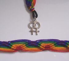 Pack of 2 double Venus symbol lesbian bracelets woman female rainbow love gift