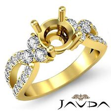 Natural Diamond 3 Stone Engagement Round Semi Mount Ring 14k Yellow Gold 0.86Ct