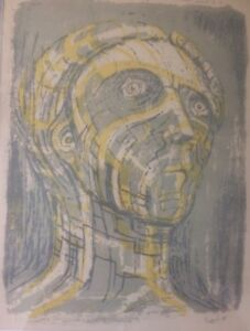 """HENRY MOORE - """" Head of Prometheus""""  - Rare lithograph  - 1950"""