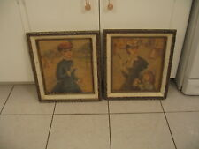 Beautiful Vintage Pair Of Gesso Framed French Lady Print Pictures By Germaine