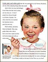 1954 Norman Rockwell art Kellogg's corn flakes pink girl vintage print ad adl89