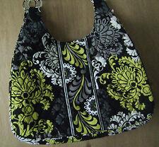 Women's Vera Bradley Large Black/Lime Baroque Shoulder Handbag Purse Tote
