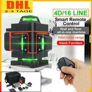 4D 16 Line Laser Level Wasserwaage 360° Kreuzlinienlaser Linienlaser Measure DE