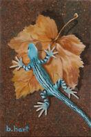Original Acrylic Painting On Canvas-Lizard-Gecko -Still Life-Nature & Animal Art