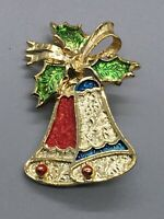 GERRYS Signed Christmas Brooch Bells Holly Gold Tone Enamel Pin Gift Vintage
