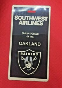 Vintage Oakland Raiders Southwest Airlines Luggage Tag